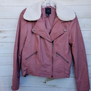 3/$21 NEW F21 faux leather jacket L deep rose